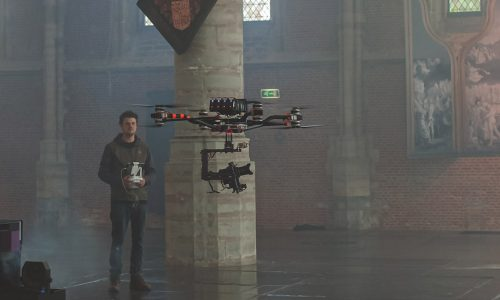 indoor octocopter drone shoot